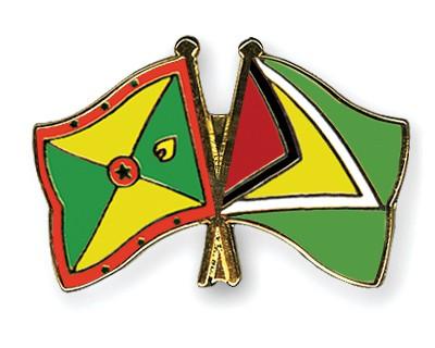 Crossed Flag Pins Grenada-Guyana