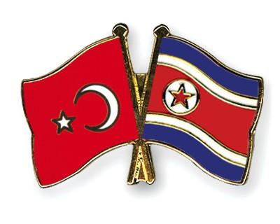 Crossed Flag Pins Turkey-North-Korea