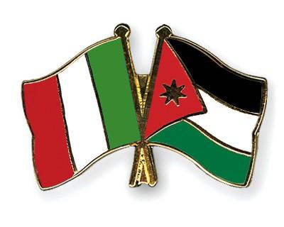 Crossed Flag Pins Italy-Jordan