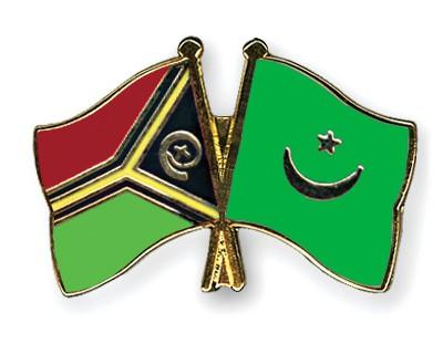 Crossed Flag Pins Vanuatu-Mauritania