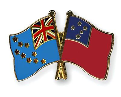 Crossed Flag Pins Tuvalu-Samoa