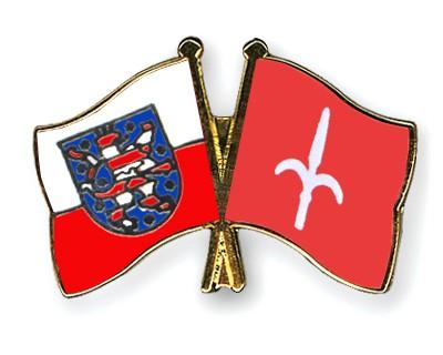 Crossed Flag Pins Thuringia-Trieste