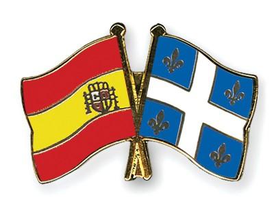 Crossed Flag Pins Spain-Quebec