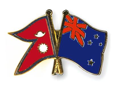 Crossed Flag Pins Nepal-New-Zealand