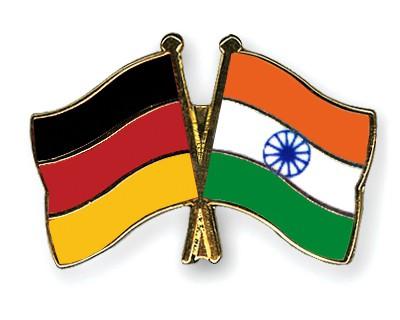 Crossed Flag Pins Germany-India