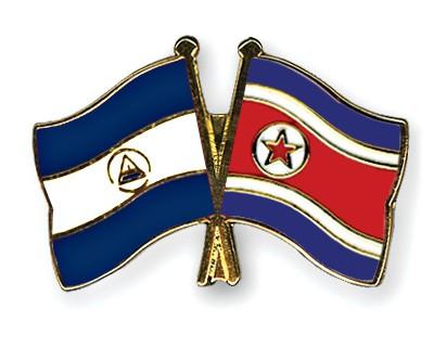 Crossed Flag Pins Nicaragua-North-Korea