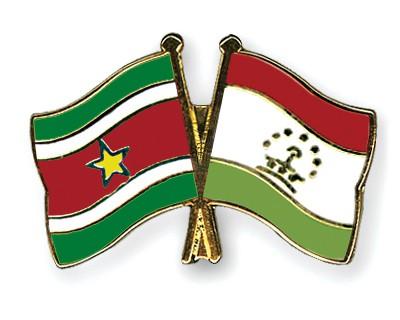 Crossed Flag Pins Suriname-Tajikistan