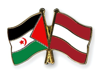 Crossed Flag Pins Western-Sahara-Austria