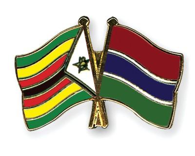 Crossed Flag Pins Zimbabwe-Gambia