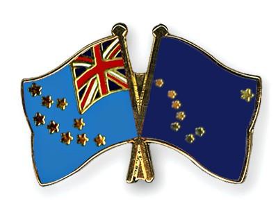 Crossed Flag Pins Tuvalu-Alaska