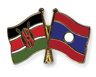 Crossed Flag Pins Kenya-Laos