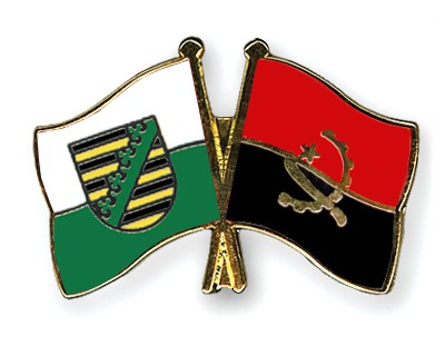 Crossed Flag Pins Saxony-Angola