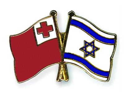 Crossed Flag Pins Tonga-Israel