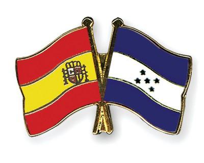 Crossed Flag Pins Spain-Honduras