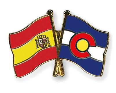 Crossed Flag Pins Spain-Colorado