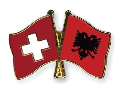 Crossed Flag Pins Switzerland-Albania