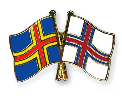 Special Offer Crossed Flag Pins Aland-Faroe Island