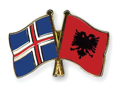 Crossed Flag Pins Iceland-Albania