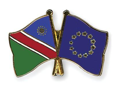 Crossed Flag Pins Namibia-European-Union