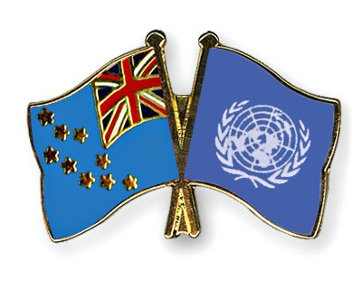 Crossed Flag Pins Tuvalu-UNO