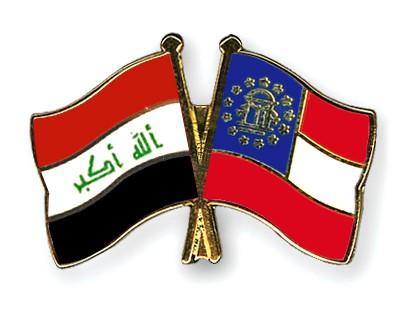 Crossed Flag Pins Iraq-Georgia