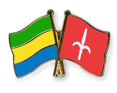 Crossed Flag Pins Gabon-Trieste