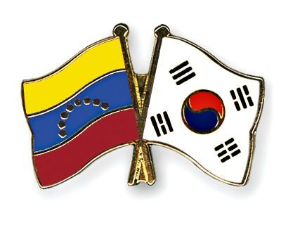 Crossed Flag Pins Venezuela-South-Korea