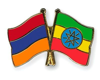 Crossed Flag Pins Armenia-Ethiopia