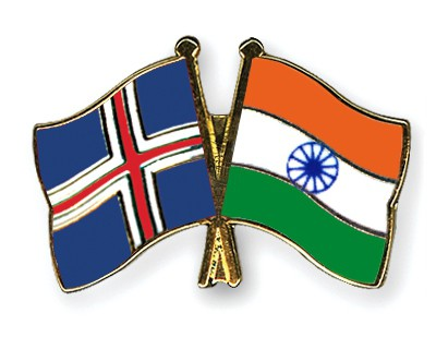 Crossed Flag Pins Iceland-India