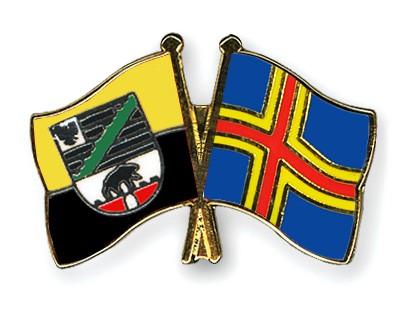Crossed Flag Pins Saxony-Anhalt-Aland