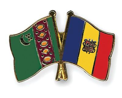 Crossed Flag Pins Turkmenistan-Andorra