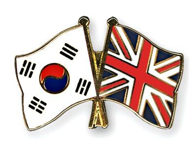 Crossed Flag Pins South-Korea-Great-Britain