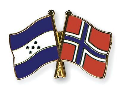 Crossed Flag Pins Honduras-Norway