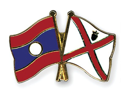 Crossed Flag Pins Laos-Jersey