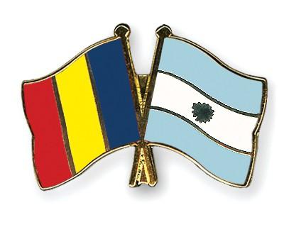 Crossed Flag Pins Romania-Argentina
