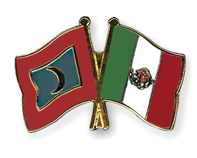 Crossed Flag Pins Maldives-Mexico