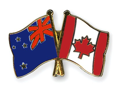 Crossed Flag Pins New-Zealand-Canada