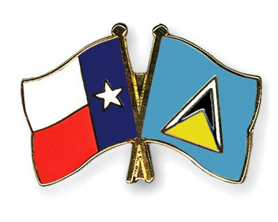 Crossed Flag Pins Texas-Saint-Lucia