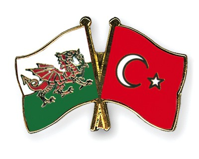 Crossed Flag Pins Wales-Turkey