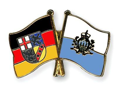 Crossed Flag Pins Saarland-San-Marino