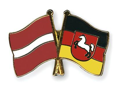 Crossed Flag Pins Latvia-Lower-Saxony