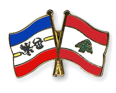 Crossed Flag Pins Mecklenburg-Western-Pomerania-Lebanon