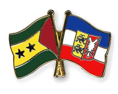 Crossed Flag Pins Sao-Tome-and-Principe-Schleswig-Holstein