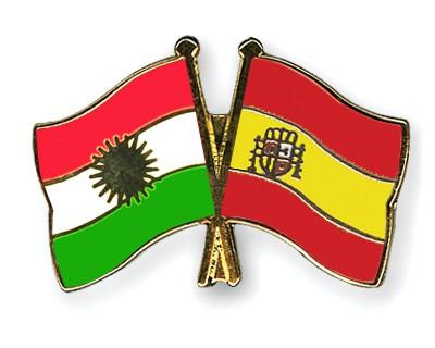 Crossed Flag Pins Kurdistan-Spain