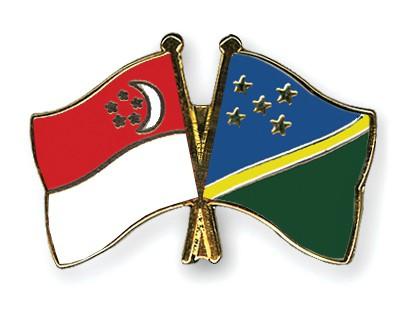 Crossed Flag Pins Singapore-Solomon-Islands