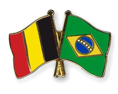 Special Offer Crossed Flag Pins Belgium-Brazil