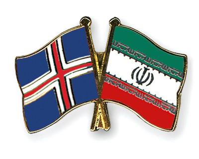 Crossed Flag Pins Iceland-Iran