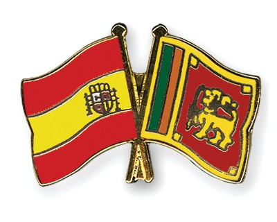 Crossed Flag Pins Spain-Sri-Lanka