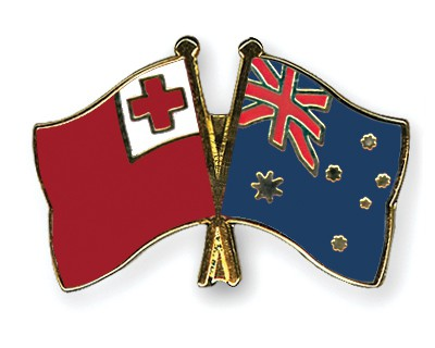 Crossed Flag Pins Tonga-Australia