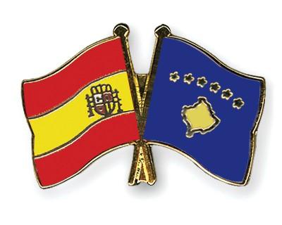 Crossed Flag Pins Spain-Kosovo